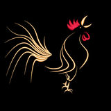 New year holiday card. Stylized cock on a black background. 2017 fiery red rooster. illustration Stock Photos