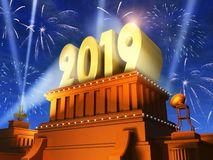 New Year 2019 holiday celebration concept. Creative abstract New Year 2019 celebration concept: 3D render illustration of the shiny golden 2019 text on pedestal royalty free illustration