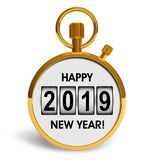 New Year 2019 holiday celebration concept. Creative abstract New Year 2019 beginning celebration concept: 3D render illustration of golden stopwatch with Happy stock illustration
