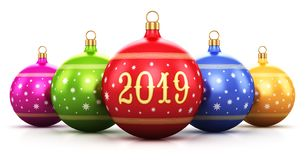 New Year 2019 holiday celebration concept. Creative abstract New Year 2019 holiday and Xmas celebration concept: 3D render illustration of the group of color royalty free illustration