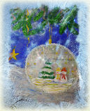 New Year holiday. New Year or Christmas card based on hand-made picture royalty free stock photo