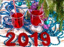 New year holiday cocktails alcoholic and non-alcoholic beverages. The spirit of Christmas and New year royalty free stock images