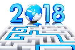 New Year 2018 holiday concept. Creative abstract New Year 2018 business office communication concept: 3D render illustration of the path across labyrinth to 2018 royalty free illustration