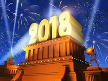 New Year 2018 holiday concept. Creative abstract New Year 2018 celebration concept: 3D render illustration of the shiny golden 2018 text on pedestal at night Royalty Free Stock Photos