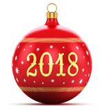 New Year 2018 holiday concept. Creative abstract New Year 2018 and Xmas celebration concept: 3D render illustration of red color shiny metallic glass Christmas Stock Image