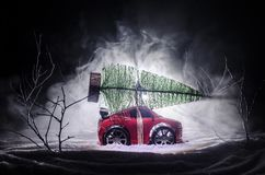 Miniature car with fir tree on Snowy Winter Fores, or toy car carrying a christmas tree and at night time Stock Images