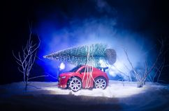 Miniature car with fir tree on Snowy Winter Fores, or toy car carrying a christmas tree and at night time. New year holiday concept. Miniature car with fir tree Royalty Free Stock Photos