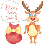 New Year Holiday Greeting card with Deer cute cart. Oon character and Presents bag on white background Winter Holidays Hand drawn trendy colors in vector stock illustration