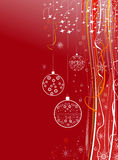 New Year holiday red background with balls Stock Images