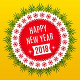 New Year 2018. Holiday Round Banner. Of Happy New Year 2018 in Red, White and Yellow Color. Vintage Greeting Badge with Spruce Branches Stock Images
