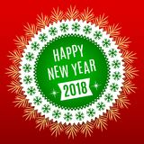 New Year 2018. Holiday Round Banner. Of Happy New Year 2018 in Green, White and Red Color. Vintage Greeting Badge with Spruce Branches Royalty Free Stock Images