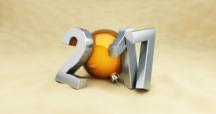 2017 New Year holidays on the beach, 3D Royalty Free Stock Photo