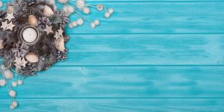 A wooden background with Christmas decorations.Xmas card.New Year, holidays concept. royalty free stock images