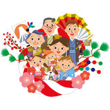New Year holidays decoration and three-generation family Stock Image