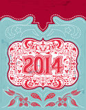 2014 New Year holidays design. Vector vintage card - western style - Grunge effects can be easily removed royalty free illustration