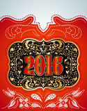 2016 New Year holidays design - western style. Cowboy belt buckle - eps available stock illustration