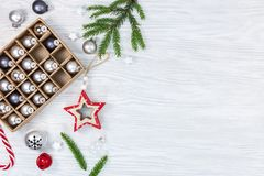New year holidays festive background with box of christmas tree royalty free stock images