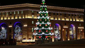 New Year holidays illumination of the Central Children's Store on Lubyanka at night, Moscow, stock footage