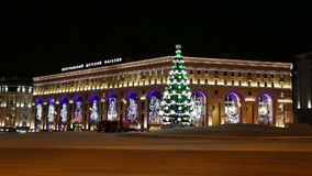 New Year holidays illumination of the Central Children's Store on Lubyanka at night, Moscow, stock video footage