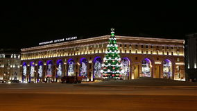 New Year holidays illumination of the Central Children's Store on Lubyanka at night, Moscow, stock video