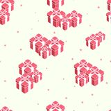 New year holidays seamless pattern, set of boxes gifts with red bow ribbon on white background, vector illustration. New year holidays seamless pattern, set of Royalty Free Stock Images
