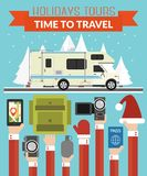 New Year Holidays Tours design flat with camper, trailer vector illustration