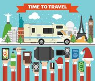 New Year Holidays World Tours design flat with camper, trailer stock illustration