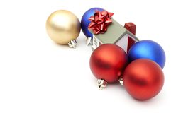 New year home. And christmass ball isolated on white Royalty Free Stock Photography