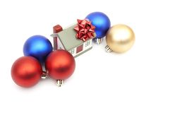 New year home. And christmass ball isolated on white Royalty Free Stock Image