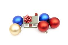 New year home. And christmass ball isolated on white Royalty Free Stock Photos