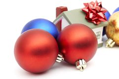 New year home. And christmass ball isolated on white Royalty Free Stock Photo
