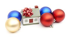 New year home and christmass ball. Isolated on white Royalty Free Stock Photo