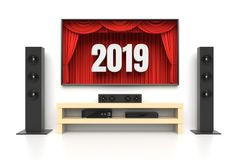 New Year 2019 home cinema. New Year 2019. Home cinema set with large lcd tv panel with theater curtains, music speakers, video disc player. Revealing new tv show Stock Image