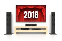New Year 2018 home cinema. New Year 2018. Home cinema set with large lcd tv panel with theater curtains, music speakers, video disc player. Revealing new tv show Stock Image