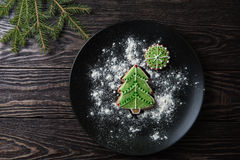 New year homemade gingerbread. On the plate stock photography