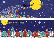 New Year horizontal banner set.Santa Claus coming to City Royalty Free Stock Photography
