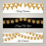 New Year Horizontal Banners with Gold Garlands royalty free illustration