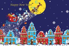 New Year horizontal greeting card.Santa Claus coming to City.Vec. Santa Claus sleigh with reindeer fly over the city and throws gifts on the background of the Stock Image