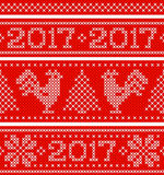 New Year horizontal seamless background. Endless Christmas scheme with number 2017 embroidered by cross stitch. Vector illustration Royalty Free Stock Photo