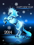 New Year horse. Abstract illustration, blue horse on blue background Stock Images