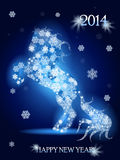 New Year horse. Abstract illustration, blue horse on blue background Stock Image
