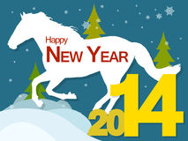 New year 2014 with horse. New year background with the symbol of the 2014 horse, snow and Christmas trees Royalty Free Stock Photo