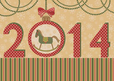 New year 2014 with the horse and ball. Vector illustration. Green horse a symbol of New year 2014. Retro style Royalty Free Stock Images