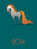 NEW YEAR OF THE HORSE 2014. Beautiful horse with a flowing mane, New Year picture Royalty Free Stock Photo