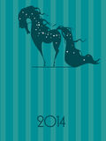 NEW YEAR OF THE HORSE. Beautiful horse with a flowing mane, New Year picture royalty free illustration