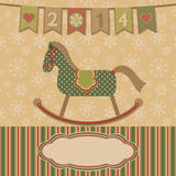 New year 2014 with the horse. Celebratory card with retro toy. Vector illustration Royalty Free Stock Photography