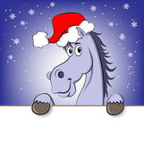 New year horse. Funny blue cartoon horse in Santa Claus hat Stock Illustration