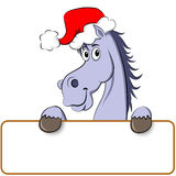 New year horse. Funny blue cartoon horse white empty board for signs Royalty Free Illustration