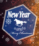 The New Year of the Horse. Holiday card vector illustration