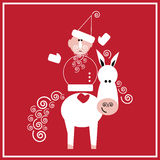 New Year of the Horse. Illustration of Santa Claus with the horse on the red background Stock Photo